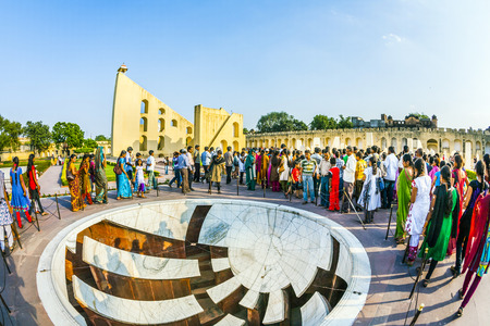 JAIPUR, INDIA - OCT 18: people visit Jantar Mantar observatory on Oct 18, 2012 in Jaipur, India. The  collection of architectural astronomical instruments, were built by Sawai Jai Singh. Sajtókép
