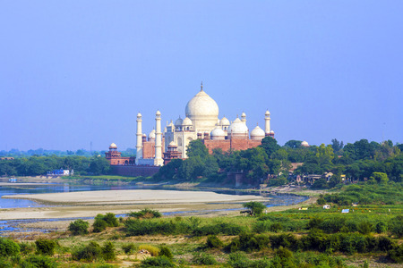 unesco world cultural heritage: Taj Mahal in Agra from red Fort