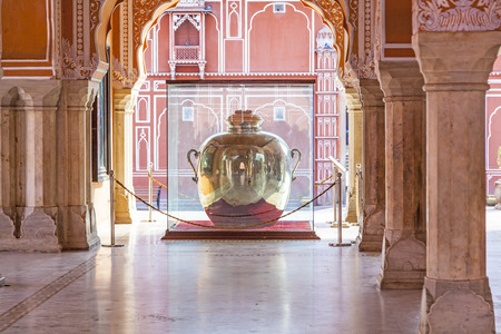 mughal architecture: JAIPUR, INDIA - OCT 19: huge ancient water bottle at City Palace on October 19, 2012 in  Jaipur, India. Chandra Mahal palace was the seat of the Maharaja, the head of the Kachwaha Rajput clan. The Chandra Mahal palace now houses a museum. Editorial