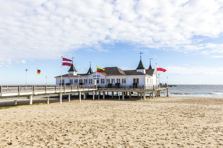 mecklenburg: Pier and Beach of Ahlbeck at baltic Sea on Usedom Island,Mecklenburg- Vorpommern,Germany Editorial