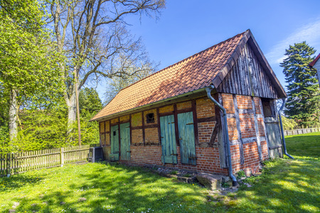 half timbered house: generic half timbered house under clear blue sky