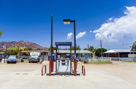 lost lake: LOST LAKE, USA - JULY 7: petrol station at the small desert village near the colorado river on July 7, 2008 in Lost Lake, USA. This community is part of the Colorado River Indian Reservation, founded  in 1865.