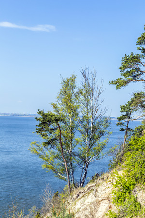 steep cliff: romantic steep cliff with lake at Gnitz in Usedom Stock Photo