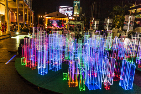 BANGKOK, THAILAND - MAY 6: light installations by night on May 6, 2009 in Bangkok, Thailand. The light installations are placed in Front of shopping mall Central World at Sukhumvit road.
