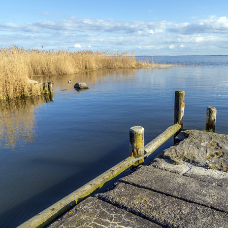 landing stage: old  landing stage at Achterwasser in Usedom at the baltic sea Stock Photo