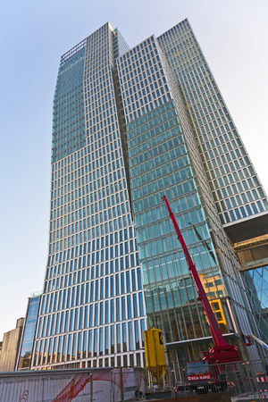 engel: FRANKFURT, GERMANY - OCT 1: famous skyscraper and Hotel Jumeirah on October 1, 2009 in Frankfurt, Germany. Architects Engel and Zimmermann finalized the Jumeirah in April 2010.