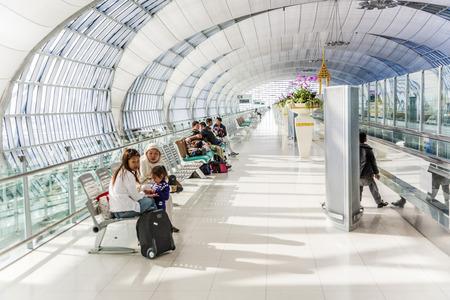 BANGKOK - JAN 5: departure terminal of Bangkok Suvarnabhumi International Airport on January 5, 2010 in Bangkok, Thailand. The airport is handling about 45 million passengers annually.