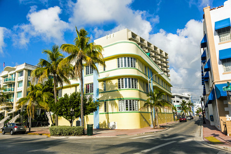 MIAMI, USA - AUGUST 2: midday view at Ocean drive on August 2, 2010 in Miami, Florida. Art Deco architecture in South Beach is one of the main tourist attractions in Miami.