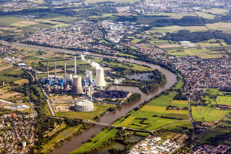 aerial of Grosskrotzenburg power station, Main river, Germany, Hessen