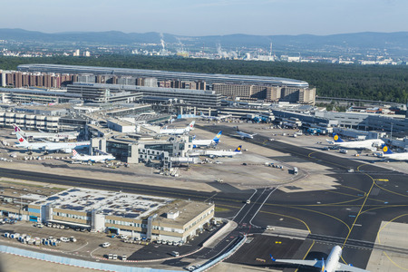 noise pollution: FRANKFURT, GERMANY - MAY 5: aerial of airport on May 5, 2014 in Frankfurt Germany. The new runway opened in APR 2012 and causes a lot of polictical discussion because of heravy noise.