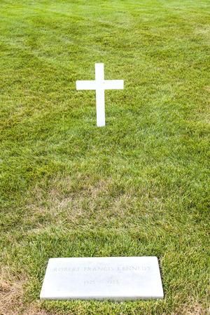 ARLINGTON, USA - JULY 15: Modest tomb of Robert Kennedy in Arlington National Cemetery on July 15, 2010 in Arlington, USA.