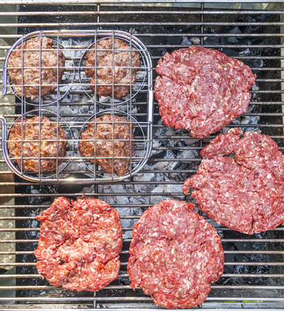 BBQ Burgers at the outdoor grill photo