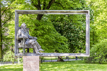 notable: KRAKOW, POLAND - MAY 4: monument for Jan Mateyko on May 4, 2013 in Krakow, Poland. He was a Polish painter known for paintings of notable historical Polish political and military events.
