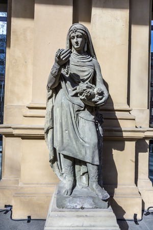 frankfurt stock exchange: statue at frankfurt stock exchange that symbolizes the asian continent