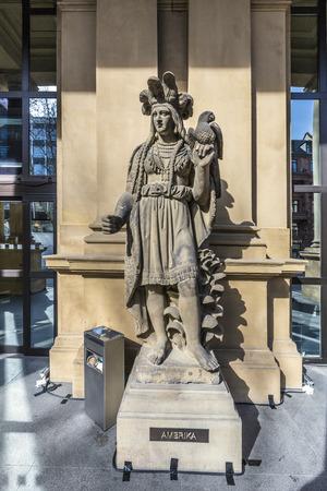 frankfurt stock exchange: statue at frankfurt stock exchange that symbolizes the american continent