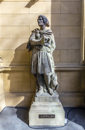 frankfurt stock exchange: statue at frankfurt stock exchange that symbolizes the australian continent Stock Photo
