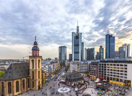FRANKFURT, GERMANY - APRIL 3, 2014: view to skyline of Frankfurt with Hauptwache on in Frankfurt, Germany. The Hauptwache is a central point and one of the most famous plazas of Frankfurt