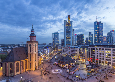 plazas: FRANKFURT, GERMANY - APRIL 3, 2014: view to skyline of Frankfurt with Hauptwache on in Frankfurt, Germany. The Hauptwache is a central point and one of the most famous plazas of Frankfurt Editorial