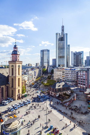 plazas: FRANKFURT, GERMANY - MAY 16, 2014: view to skyline of Frankfurt with Hauptwache on in Frankfurt, Germany. The Hauptwache is a central point and one of the most famous plazas of Frankfurt Editorial