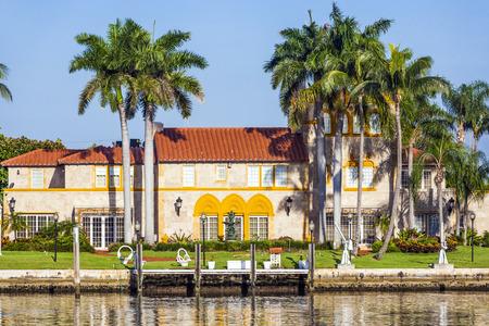 pinetree: MIAMI BEACH, USA - JULY 31, 2010: luxury houses at the canal in Miami Beach, USA. Pinetree Drive is the premier neighborhood for luxury homes.