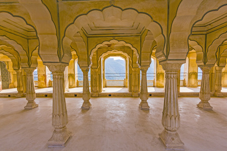 AMER, INDIA - OCT 19, 2012: inside the Amber Fort in Amer, India. Much of the present structure is actually the palace built by the great conqueror Raja Man Singh who ruled from 1590 - 1614 A.D.