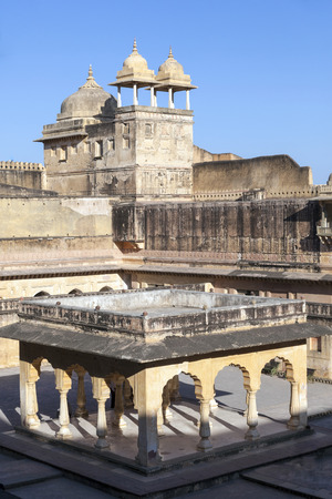 jagmandir: AMER, INDIA - NOV 12 2011:  Amber Fort in Amber,India. Constructed by Raja Man Singh I in 1592 , the fort was made in red sand stone and white marble.
