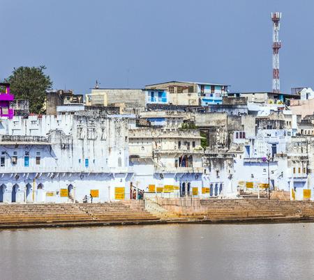 a bathing place: ritual bathing place at holy lake  in Pushkar