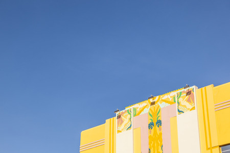 disctrict: MIAMI , USA - JULY 31, 2010: midday view at Ocean drive in Miami, USA. Art Deco architecture in South Beach is one of the main tourist attractions in Miami. Editorial