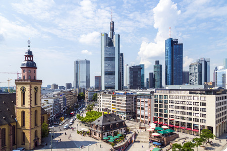 plazas: FRANKFURT, GERMANY - JUNE 3, 2014: view to skyline of Frankfurt with Hauptwache on in Frankfurt, Germany. The Hauptwache is a central point and one of the most famous plazas of Frankfurt