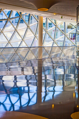glasswork: FRANKFURT, GERMANY - AUGUST 21, 2010: glasswork inside the myZeil center in Frankfurt, Germany. The modern building by architect Fuksas was inaugurated in 2009.