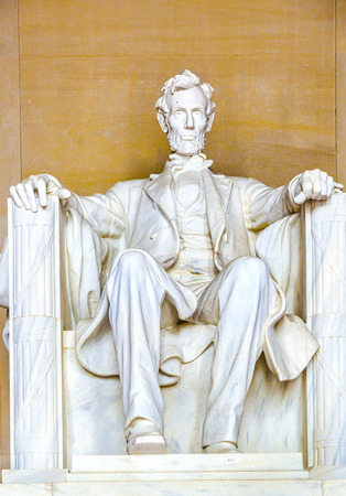 abe: Statue of Abraham Lincoln at the Lincoln Memorial, Washington DC Editorial