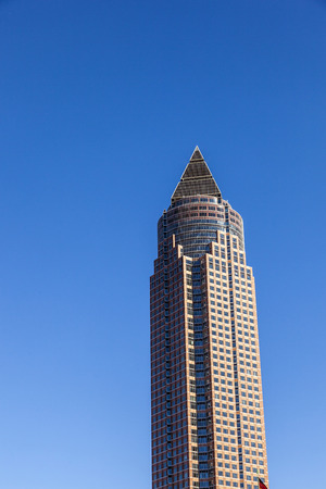 FRANKFURT, GERMANY - OCTOBER 10, 2010: Messeturm with clear blue sky in Frankfurt, Germany. The skyscraper was the highest building in Europe from 1991 until 1997 with 257 meters.