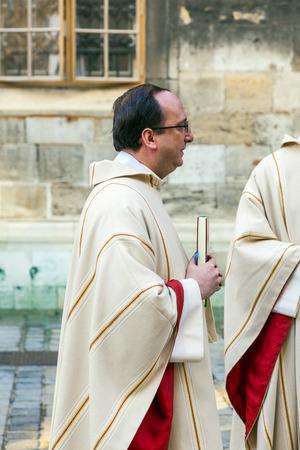 homily: VIENNA, AUSTRIA - NOVEMBER 27, 2010: Bishop Franz Scharl is praying for the unborn child in Vienna, Austria.