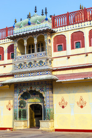 Chandra Mahal in City Palace, Jaipur, India. It was the seat of the Maharaja of Jaipur, the head of the Kachwaha Rajput clan.