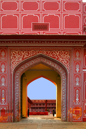 Entrance to City Palace, Jaipur, India. It was the seat of the Maharaja of Jaipur, the head of the Kachwaha Rajput clan.