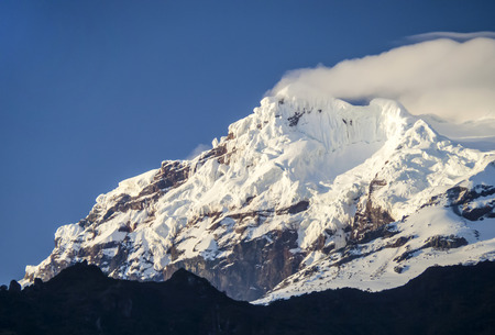 snow capped: snow capped Antisana Vocano in Ecuador in morning light