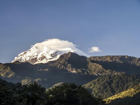 snow capped Antisana Vocano in Ecuador in morning light