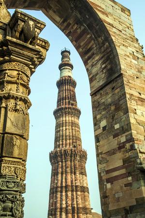 minar: Qutub Minar Tower or Qutb Minar, the tallest brick minaret in the world , Delhi India. Stock Photo