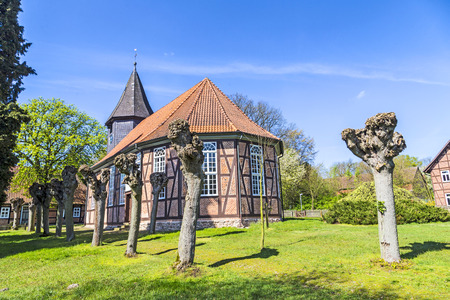OSTENHOLZ, GERMANY - APR 12: famous old church on Apr 12, 2014 in Ostenholz, germany. The timber framed church dates back to 1724.