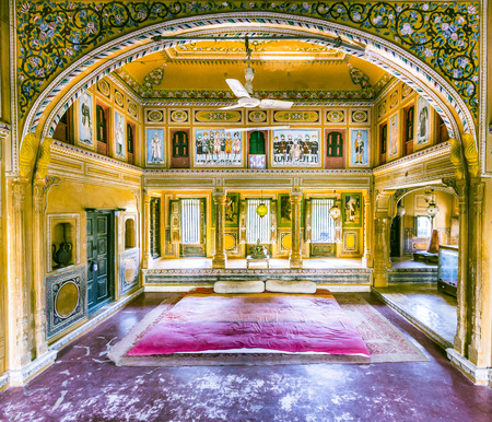 MANDAWA, INDIA, OCT 25, 2012:   old haveli in  Mandawa, India. The town referres as open art gallery of Rajasthan because of its fascinating havelis with lavishly painted walls.