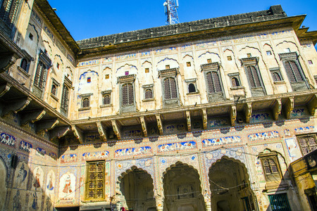 rajasthani painting: beautiful old haveli  in  Mandawa, India.