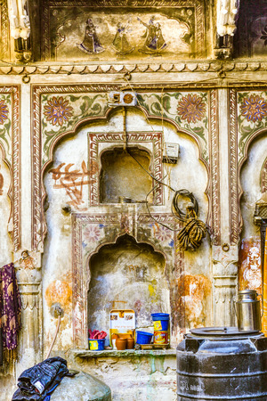 MANDAWA, INDIA, OCT 25, 2012: detail of old haveli in  Mandawa, India.  The town referres as open art gallery of Rajasthan because of its fascinating havelis with lavishly painted walls.