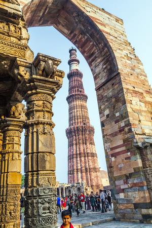 minar: Qutub Minar Tower or Qutb Minar, the tallest brick minaret in the world , Delhi India. Editorial