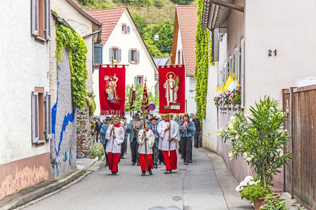 johannes: OBERROTWEIL, GERMANY - JUNE 29, 2014: Johannis procession in Oberrrotweil, Germany. The annual Johannis festival is dedicated to apostel Johannes and all people of the town take place.