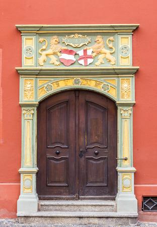 freiburg: Gothic style door, Whale House, Freiburg, Germany