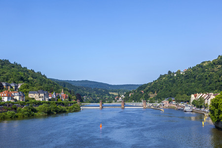 sluice: neckar river panorama in heidelberg Stock Photo
