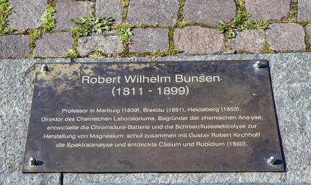 radium: memorial plate of Robert Wilhelm Bunsen in Heidelberg