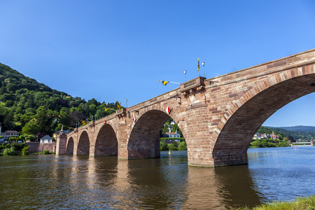 Heidelberg, Germany, the historical Old Bridge and Neckar river photo