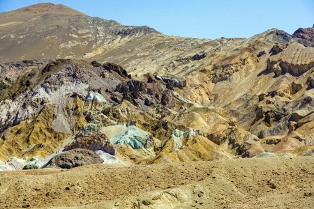 he variegated slopes of Artists Palette in Death Valley, California. Various mineral pigments have colored the volcanic deposits found here. photo