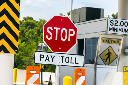 toll: Toll Road sign at a toll bridge in Texas